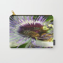 Close Up Of Passion Flower with Honey Bee  Carry-All Pouch