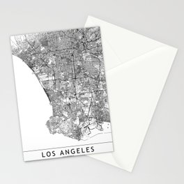 Los Angeles White Map Stationery Cards