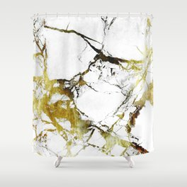 Gold-White Marble Impress Shower Curtain