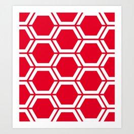 Cadmium red - red - Geometric Polygon Pattern Art Print