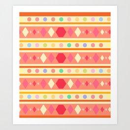 Happy Tribal Pattern Art Print