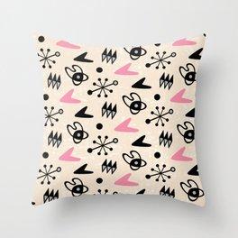 Mid Century Modern Atomic Boomerang Pattern Pink 103 Throw Pillow