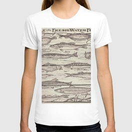 father's day fisherman gifts whitewashed wood lakehouse freshwater fish T-shirt