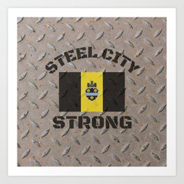 Pittsburgh Steel City Strong Flag On Metal Background Art Print