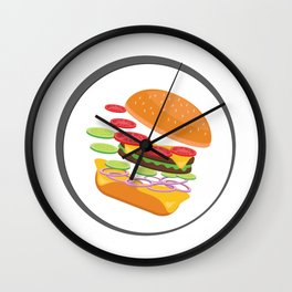Awesome Burger falling down - I love Burger Wall Clock