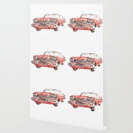 Watercolor Red Classic Car Wallpaper
