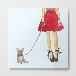 Zoe and her Frenchie Metal Print