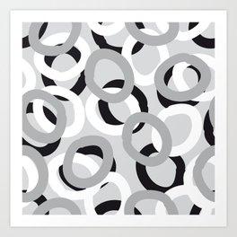 curly black, white, gray Art Print