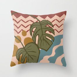 Monstera Split Leaf in Fall Colors Throw Pillow