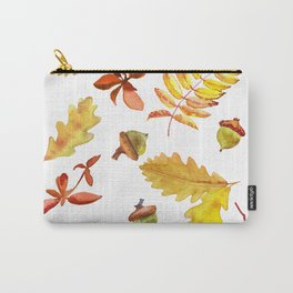 Watercolor pattern foliage oak leaves and acorn. Carry-All Pouch