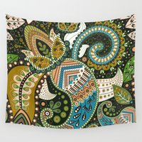 india Wall Tapestries featuring Paisley India by JunkyDotCom