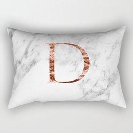 Monogram rose gold marble D Rectangular Pillow