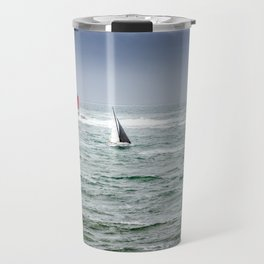 Sailing boat in the sea with stormy weather Travel Mug