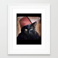 fez Framed Art Prints featuring Fez Felix by The Lonely Pixel