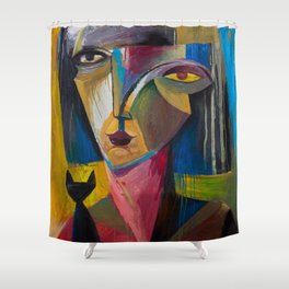 Woman with Black Cat Shower Curtain