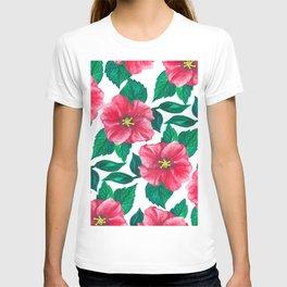 Pink Hibiscus Pattern T-shirt