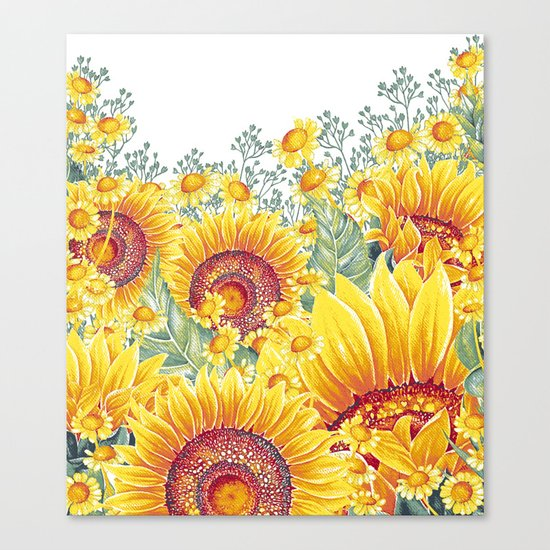 Vintage Garden 15 (Sunflower Field) Canvas Print