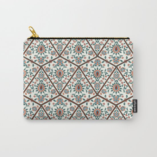 Geometric Deco Floral Carry-All Pouch