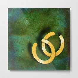 Lucky horseshoes on a textured green background Metal Print