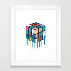 Drippy Feelings Rainbow Rubiks Cube Framed Art Print