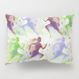 Watercolor women runner pattern Brown green blue Pillow Sham