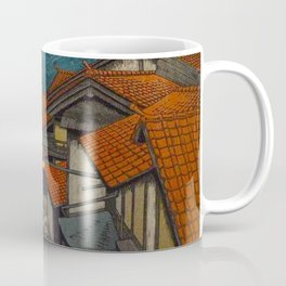 Vintage Japanese Woodblock Print Village At Night Feudal Japan Coffee Mug