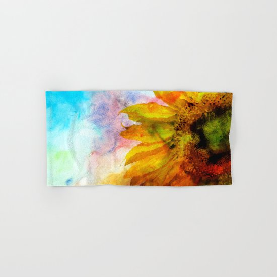 Sunflower on colorful watercolor background- Flowers on #Society6 Hand & Bath Towel