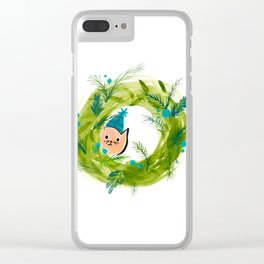 Kitty Christmas Wreath - Holiday Watercolor Clear iPhone Case