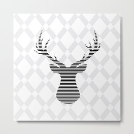 Deer - Abstract geometric pattern - gray and white. Metal Print