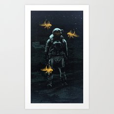 Space goldfish Art Print