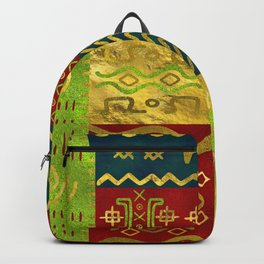 Ethnic African Golden Pattern on color Backpack