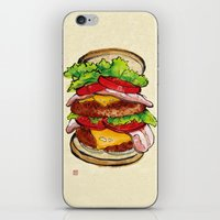 hamburger iPhone & iPod Skins featuring Hamburger by aibo