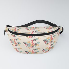Retro New York Paris London Tokyo Typography Fanny Pack