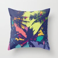 palm tree Throw Pillows featuring Palm tree by PINT GRAPHICS