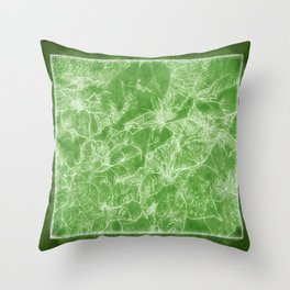 Mixed color Poinsettias 3 Outlined Green Throw Pillow