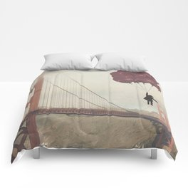 Floating over the Golden Gate Comforters