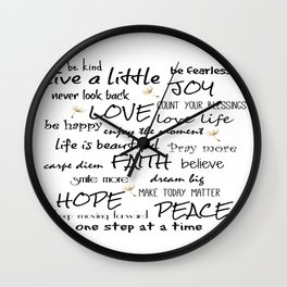 Life Quote Affirmations Wall Clock