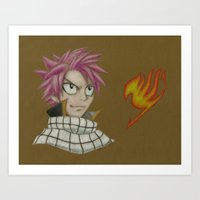 fairy tail Art Prints featuring Natsu - Fairy Tail by Kelly Katastrophe