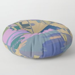 Pale Existence - Abstract, pastel purple, blue, mustard and green painting Floor Pillow
