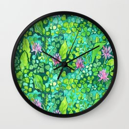 Pink Clover Flowers on Green Field, Floral Pattern Wall Clock