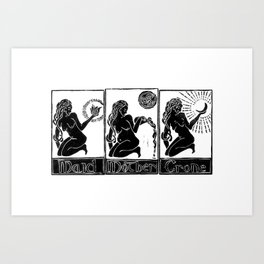 Maid, Mother, Crone - Lino Print Art Print
