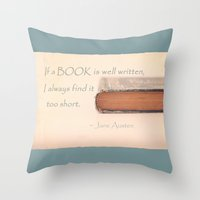 jane austen Throw Pillows featuring Jane Austen by Sparrow House Photography