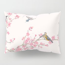 Birds and cherry blossoms Pillow Sham