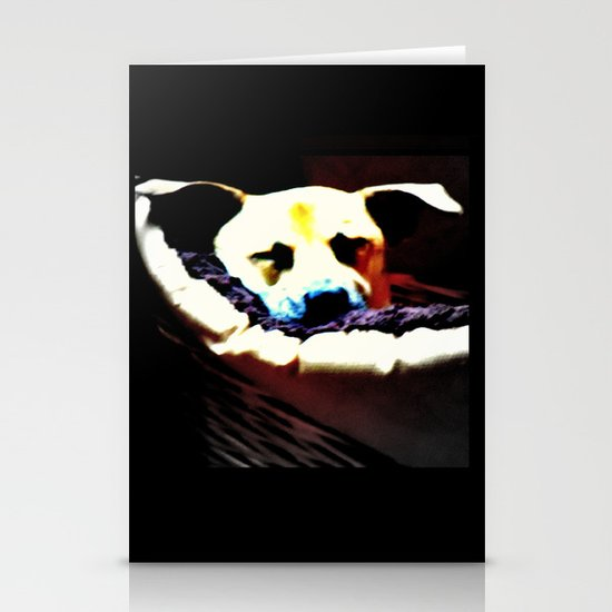sleeping puppy stuck in basket Stationery Cards