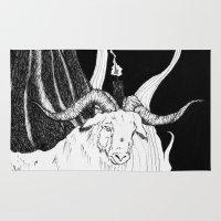 baphomet Area & Throw Rugs featuring Sabbat - Goat Detail  by Peczulis