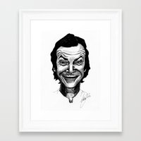 jack nicholson Framed Art Prints featuring JACK NICHOLSON by Simone Bellenoit : Art & Illustration