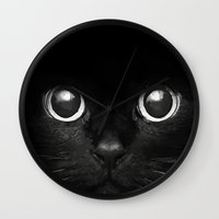 black cat Wall Clocks featuring Black Cat by Maioriz Home