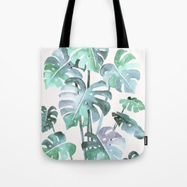 Delicate Monstera Blue And Green #society6 Tote Bag