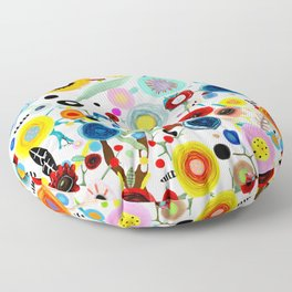 Rupydetequila whimsical floral art 2018 Floor Pillow