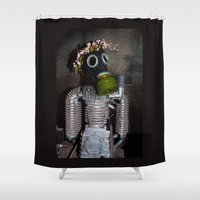 soviet Shower Curtains featuring Household robot with gasmask by Guna Andersone & Mario Raats - G&M Studi